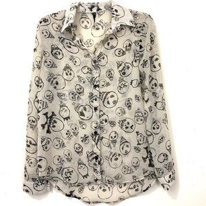 Love Culture Sheer Button Down Skull Blouse